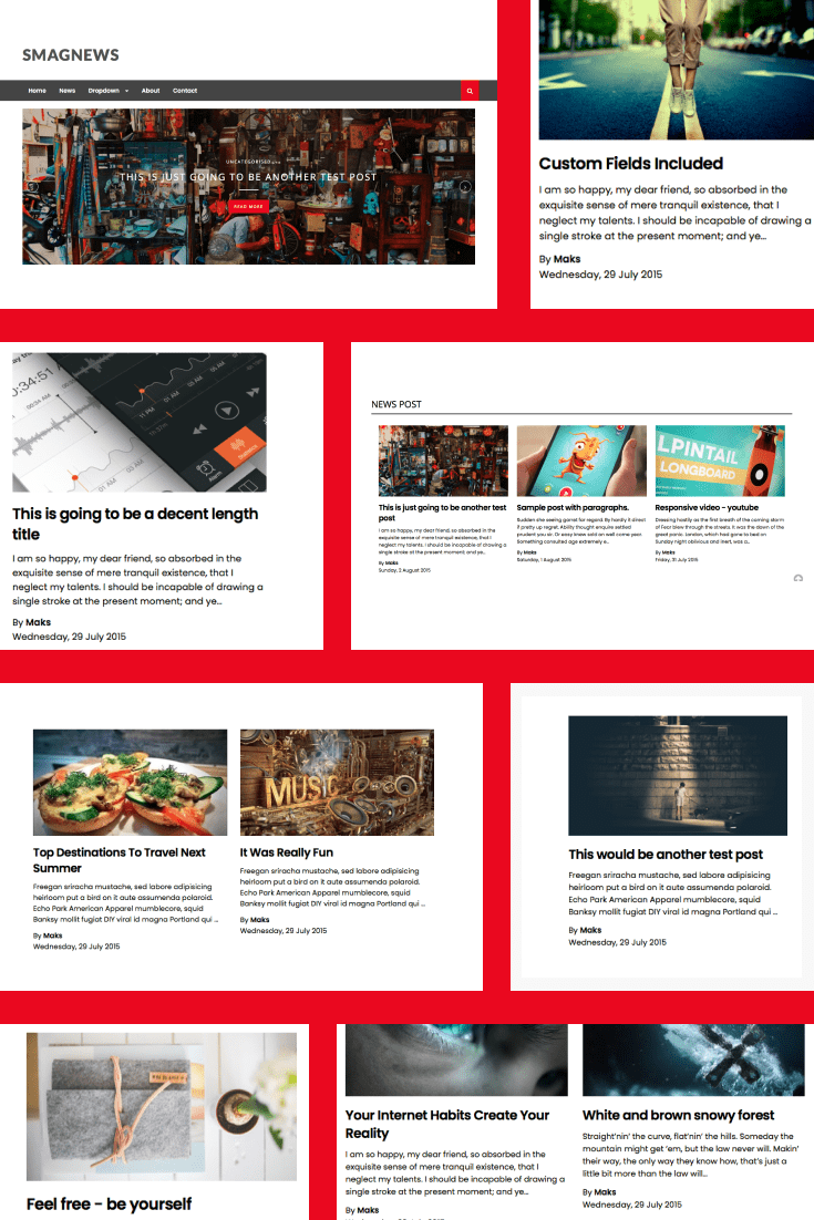 Multipurpose and colorful theme. It can be used both for a news blog and for everyday use.