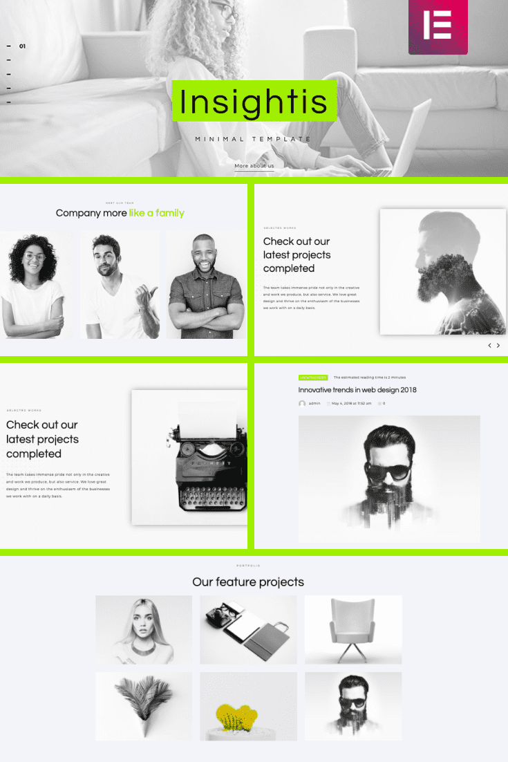 Neon accent and minimal colors give you opportunity to create your own style of portfolio.