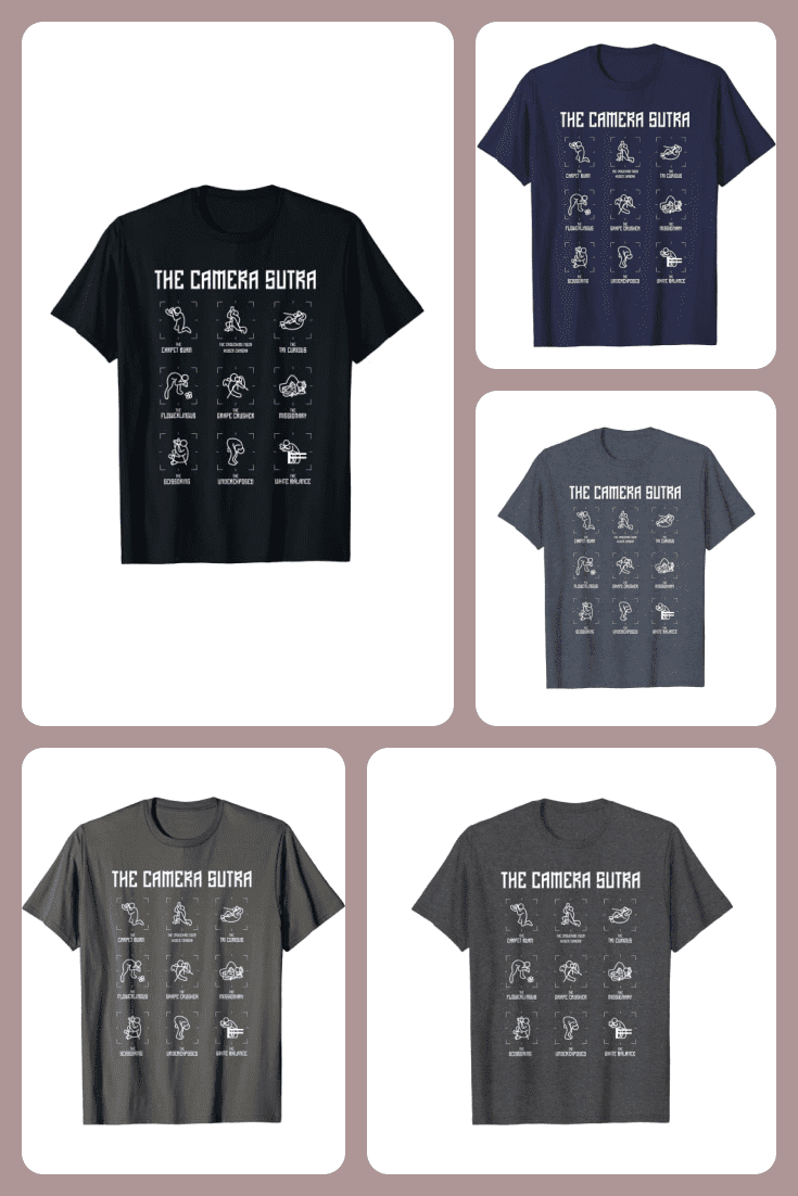 Men's T-shirts with the depicted working positions for the photographer.