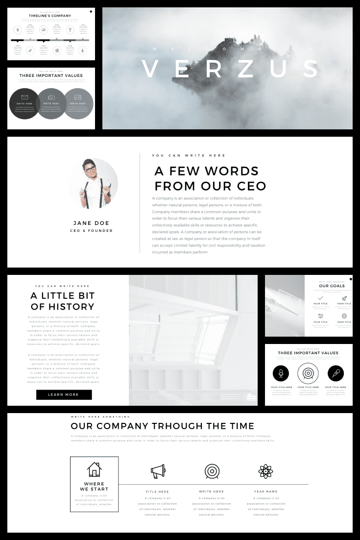 Stylish and fresh. A laconic template in graphics, but with such taste and delicacy. Gray smoke, light shadows - all this makes you come back to this presentation over and over again.