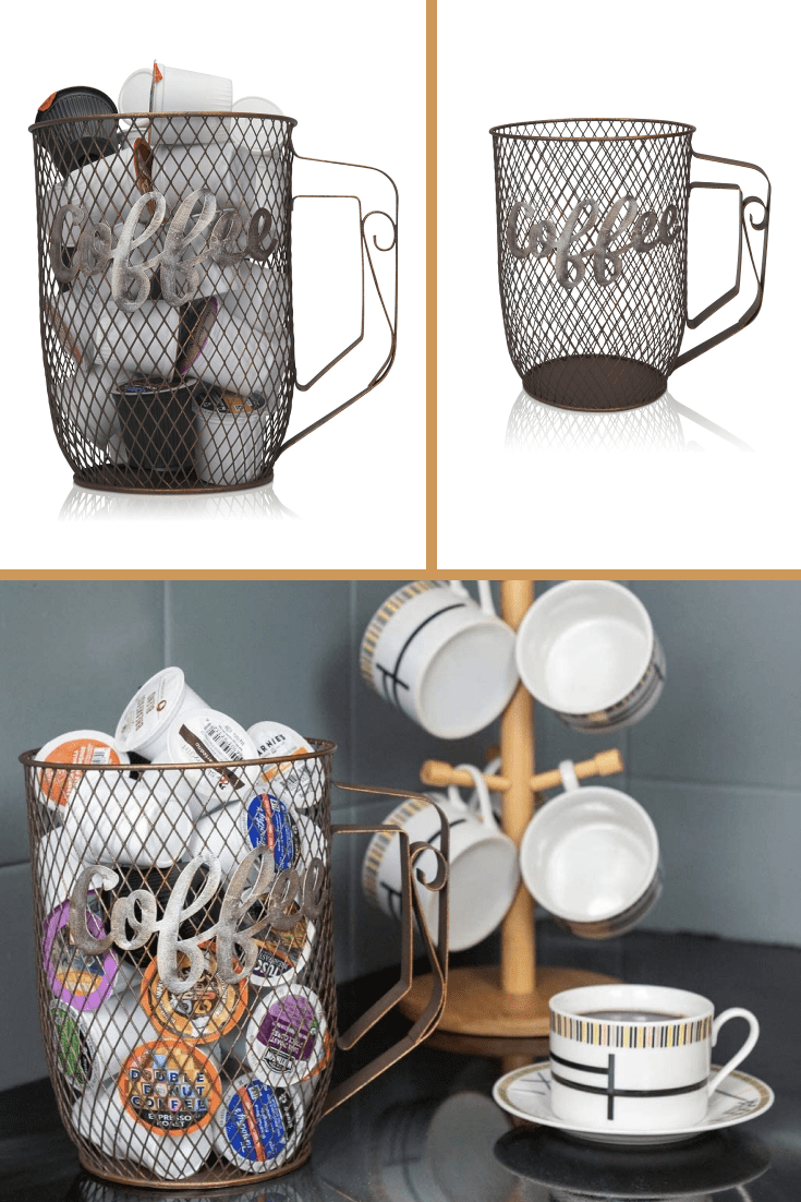 Mesh cup for storing packing cream or coffee tablets.