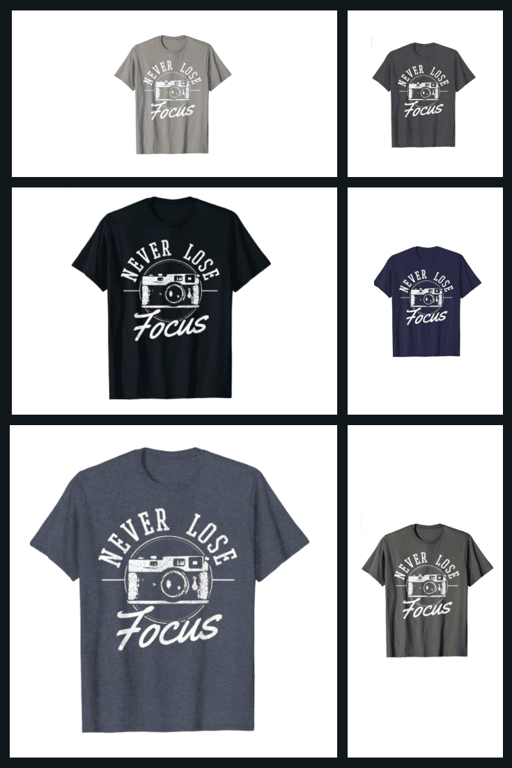 T-shirts in discreet colors with themed lettering.