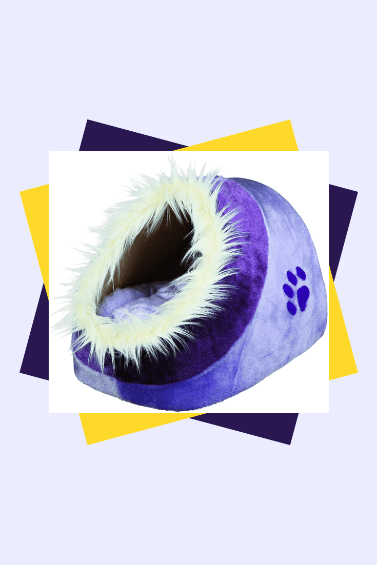 Plush purple lounger with fluffy rim. This is for aesthetes cats who value beauty and comfort.