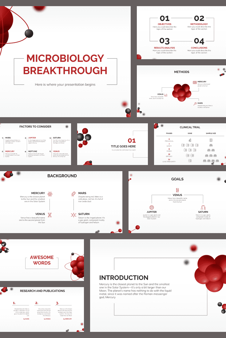 Flying red molecules on a white background. A piece of futurism and classics. This design is Vogue for medicine. If you are used to standing out stylishly, then this topic is what you need. It will be appropriate for any topic and audience.