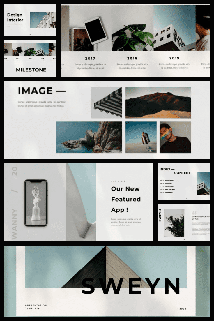 Minimalistic in text but rich in graphics. The style of the template is closest to Scandinavian. Menthol accents speak of calmness and regularity.
