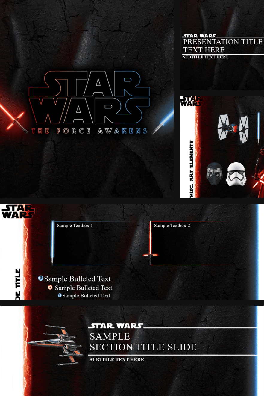 Black theme with red accents. It's perfect for Star Wars. The design alone will convey everything you wanted to say.