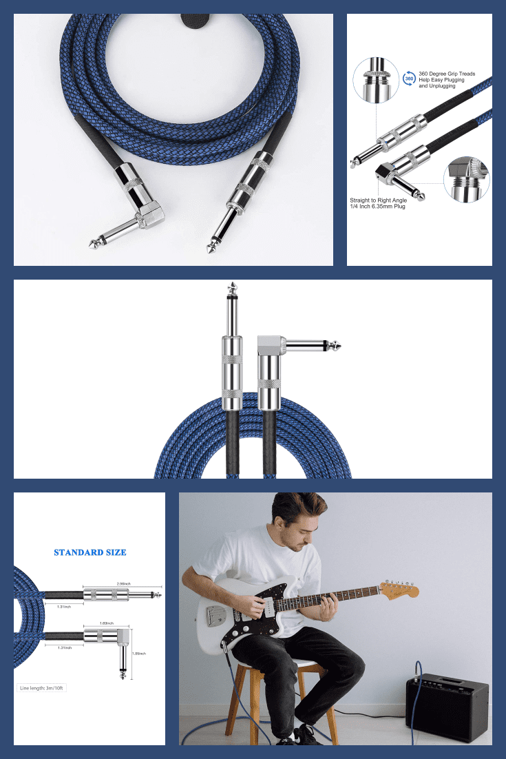 Quality guitar cable. Suitable for mixer, power amplifier, microphone, decoder, equalizer, electoronic organ and other electronic equipments.