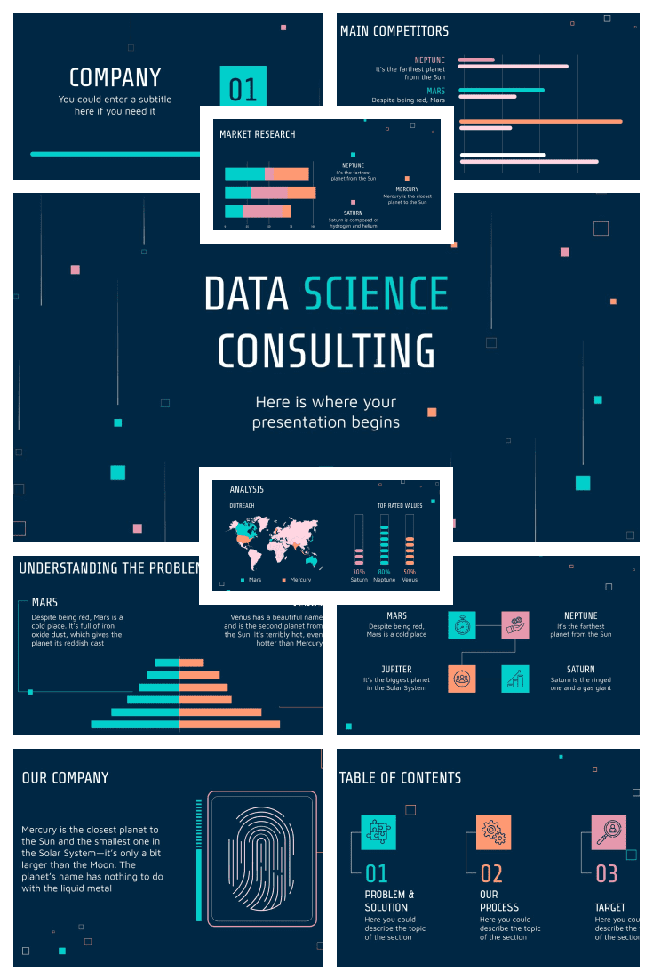 Interactive Template in dark blue. Thanks to infographics and high-quality pictures, information is presented in a simple and beautiful way.