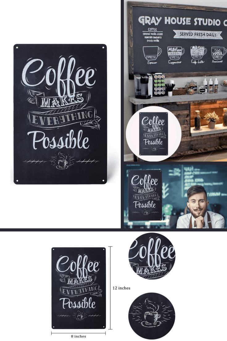 Poster in the form of a board with the inscription about coffee. This is a good idea for a cafe or wall decor.