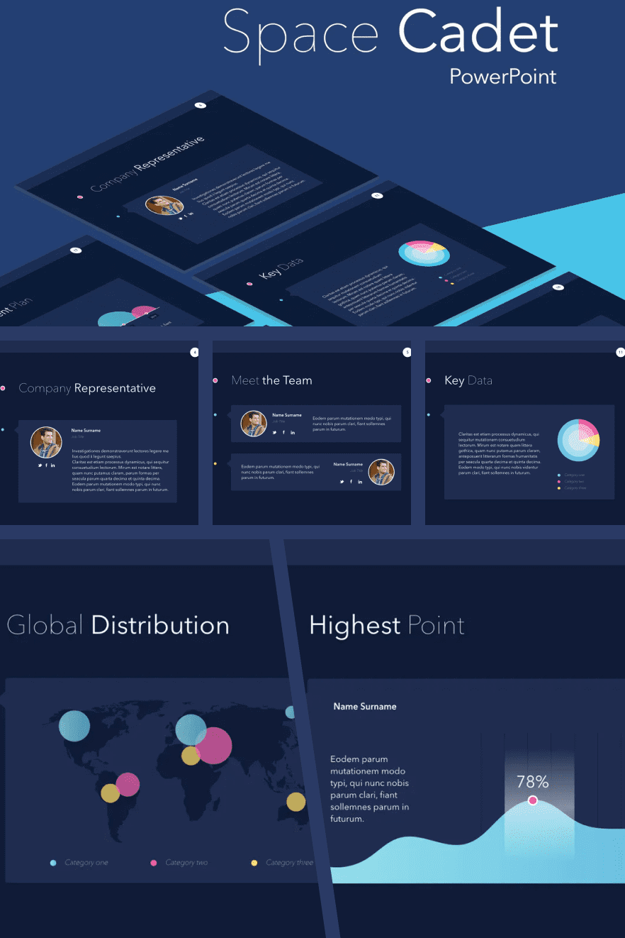 Deep cyan, block test system and vibrant color accents will make your presentation unique.