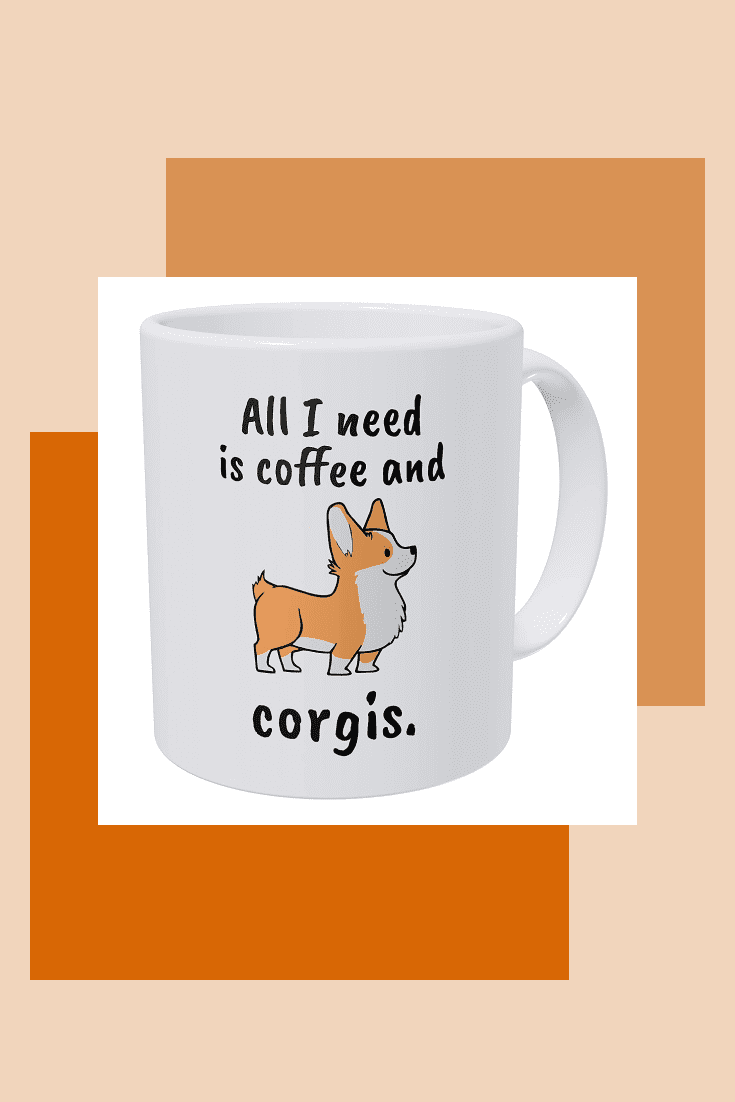 A cute white cup with an inscription and a picture of a corgi.