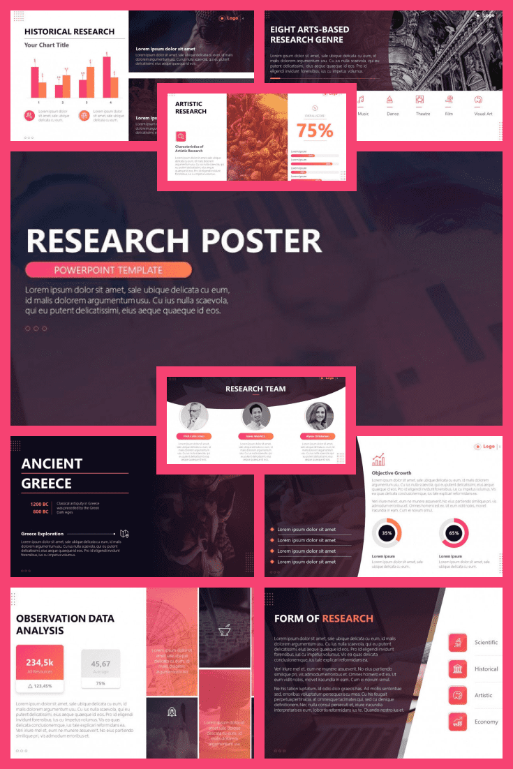 This template will make your presentation stand out from everyone in the scientific community. Cherry hue and colorful infographic would be a great design for your topic.