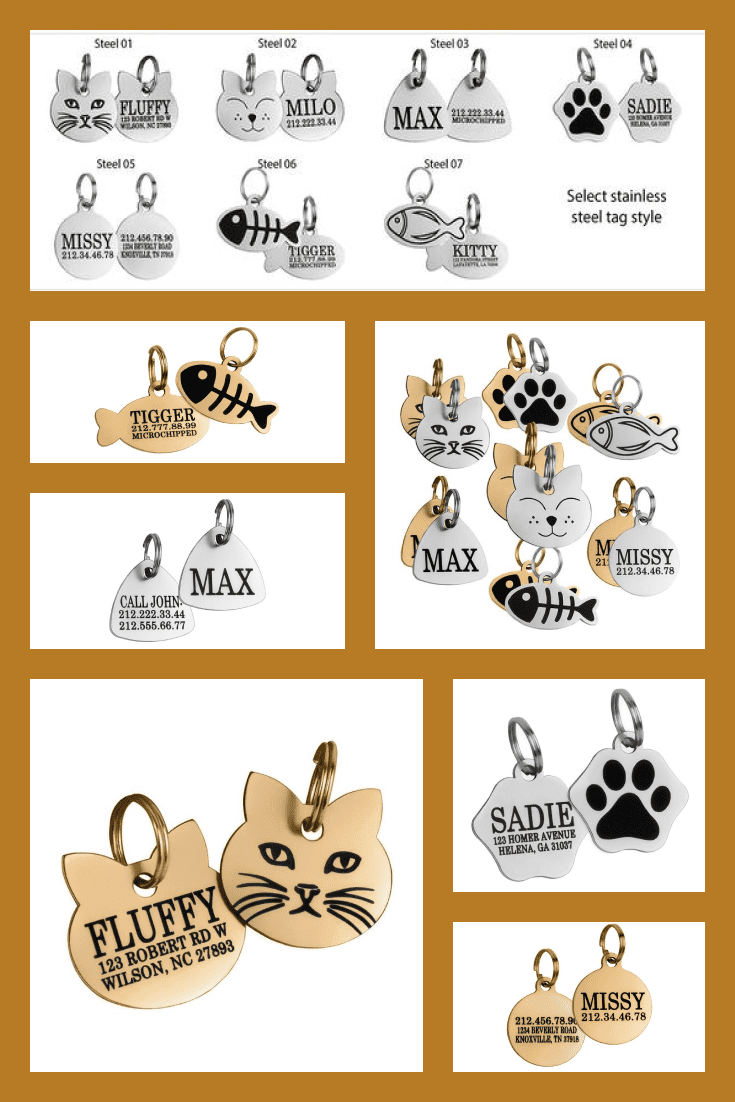Fancy and stylish collar badges. With them, you can not worry about losing a cat, because each icon indicates the name and address of the animal. An excellent gift for cat lovers who live in private homes.