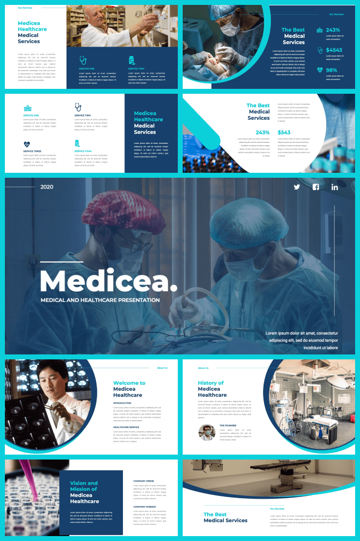 A bit of blue, turquoise and white. This design is a lump of medical information. You will have access to graphics and fonts, so you can improve presentations to suit your style.