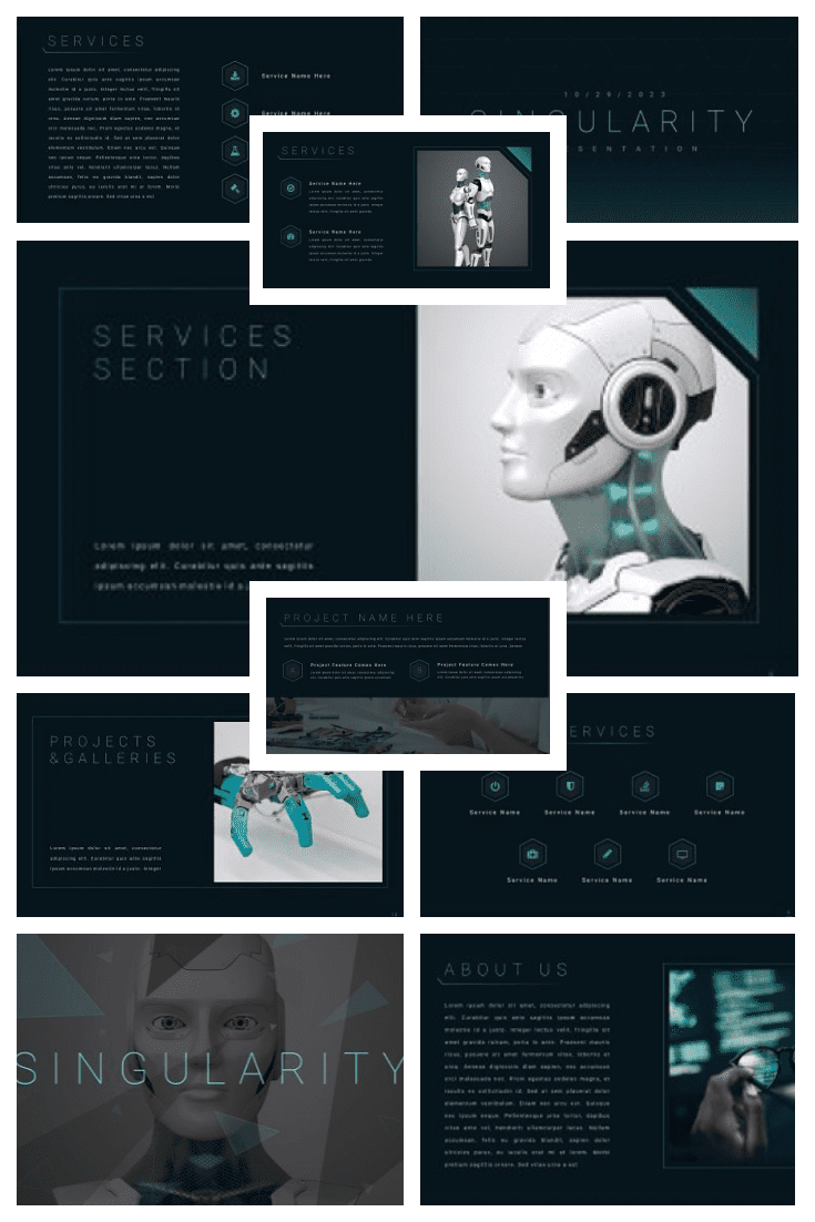 Futuristic theme with stylish accents. Perfect for artificial intelligence presentation.
