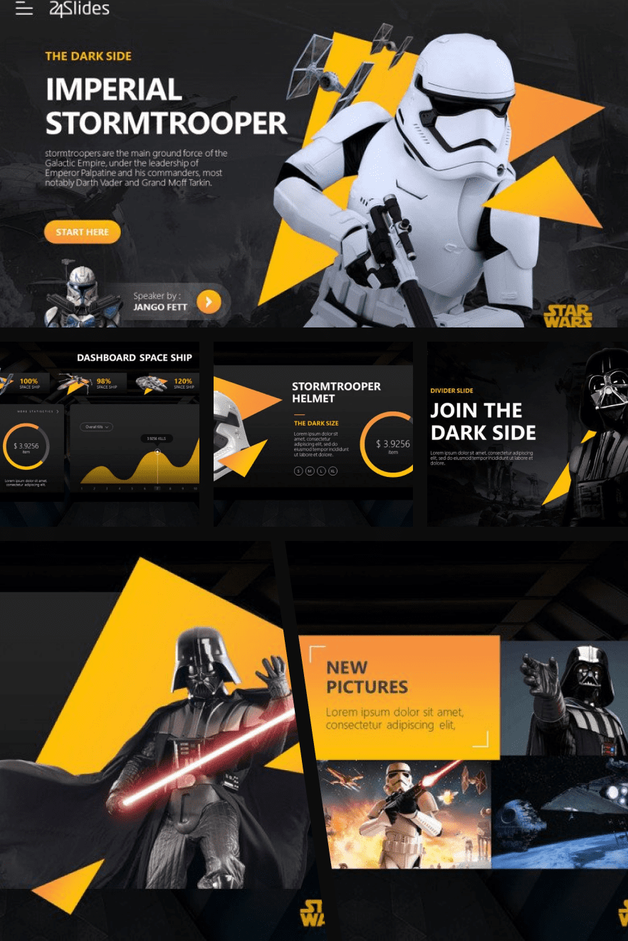 The black and yellow design attracts with color accents. The presentation is dominated by graphic objects rather than text.