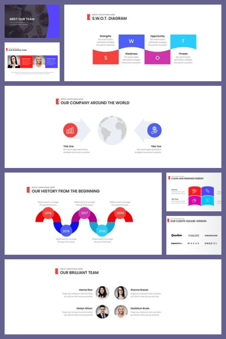 Simple and stylish business presentation. Here the highlights are highlighted in bright colors. You will be able to show the main tasks and results of the project.