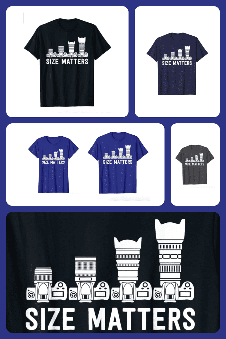 T-shirts with different lens sizes and the words