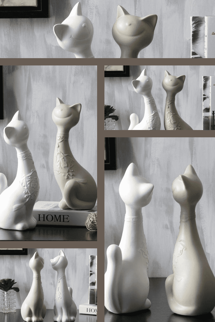 Figurines of two cats in light color will become a magnet for the second half. It is a good gift for a couple of lovers or a single person.