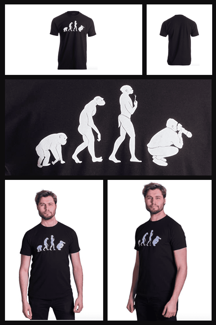 Stylish black T-shirts with a funny picture of evolution.