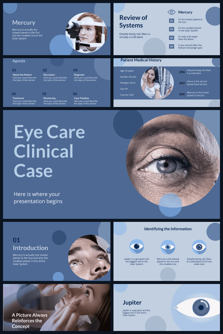 The deep blue color of this template conquers from the first minute and looks right through you. This theme would be a great option for ophthalmic presentations.