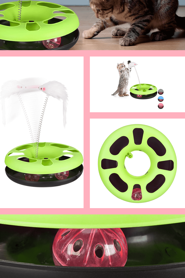 An interactive toy for active cats. With such a device, you will free yourself from constant games with the cat and provide him with activity for the whole day.
