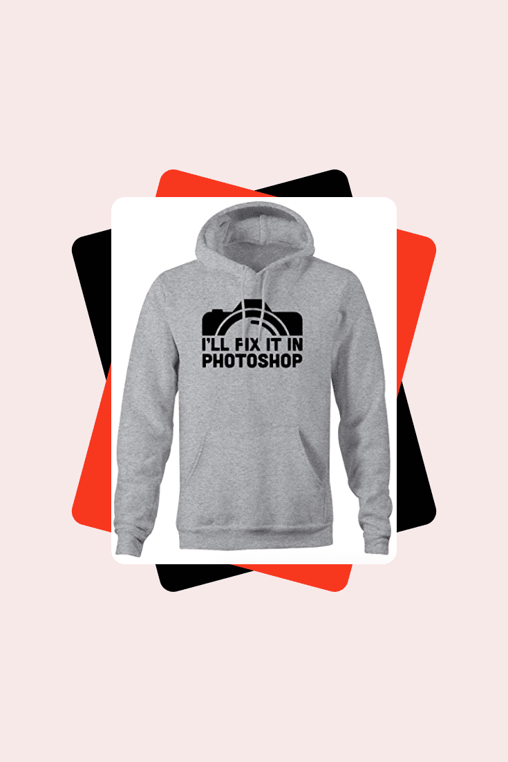 Gray hoodie with a picture of the lens.