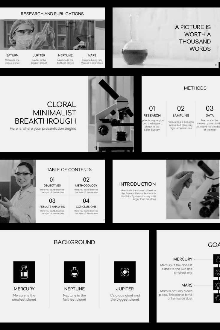 The template is made in black and white so that nothing distracts attention from the main theme of the presentation.
