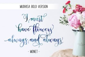 Spring font and big bouquet.