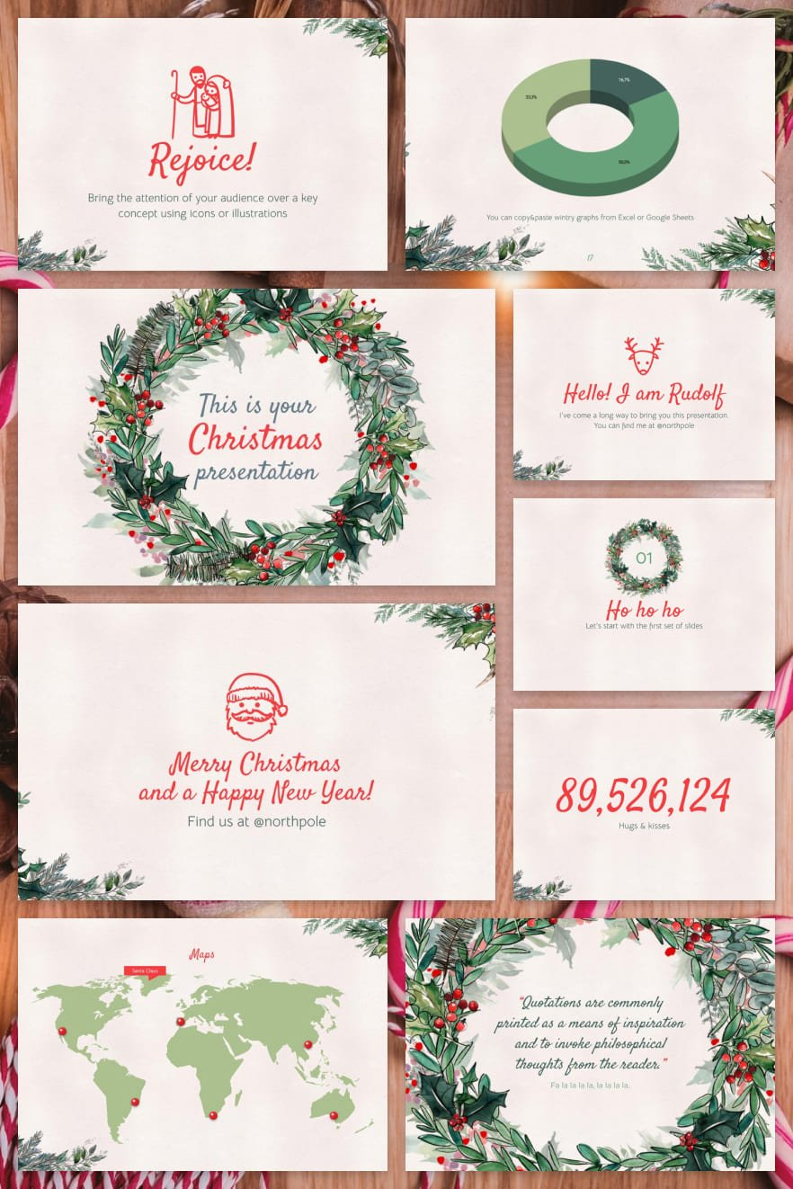 Everyone loves Christmas and this topic will be relevant even in the middle of summer. The coniferous shades of the template and the versatility of the design will be your path to success.