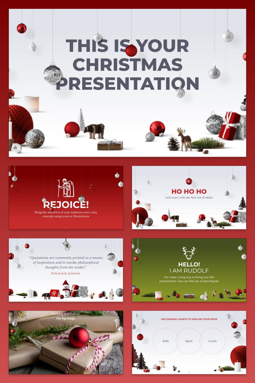 This stylish Christmas template in red will add some celebration to your presentation. It can be used for both annual and quarterly reports.