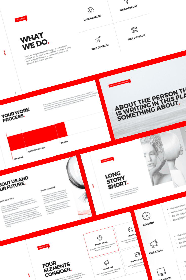 The template resembles a revolutionary brochure because of the red lines on the white background. If you want and are ready to make changes to the familiar device with your report, then choose this template.