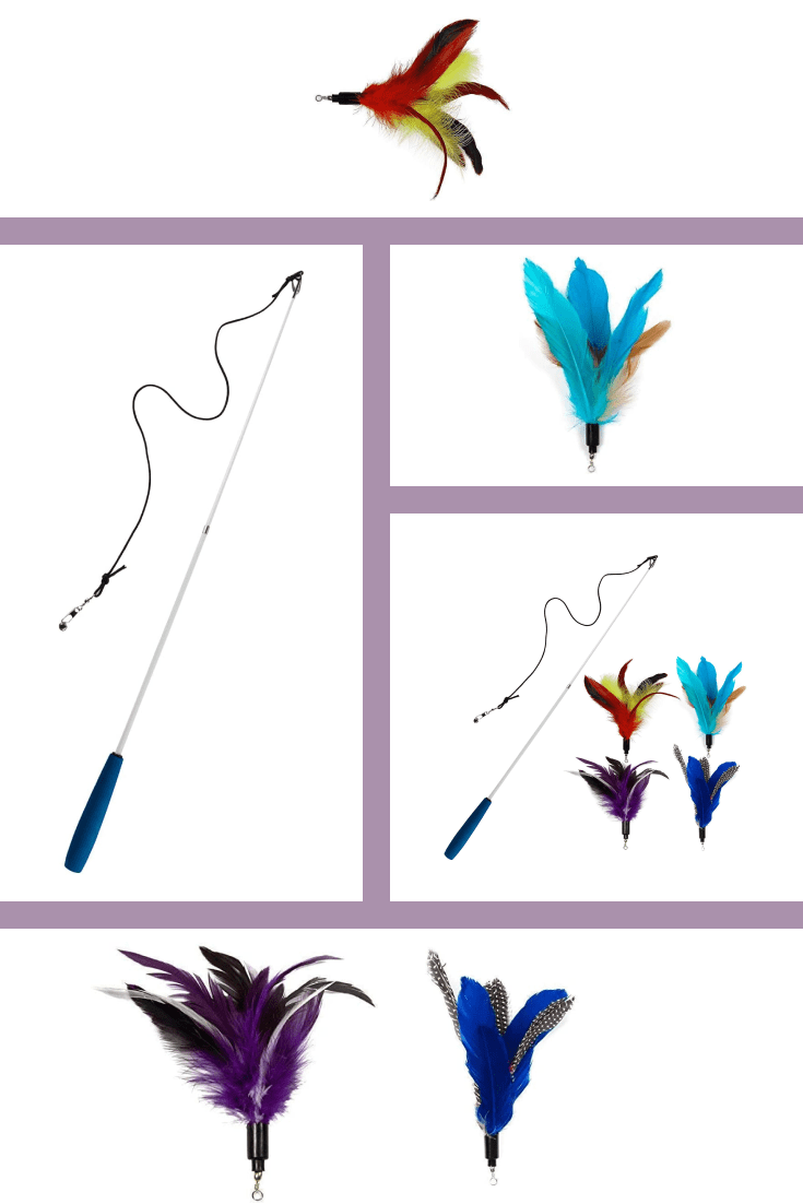 This long toy with feathers at the end will be your cat's favorite.