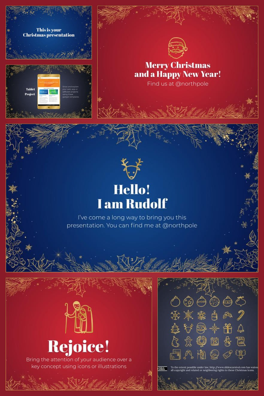 All Christmas elements are present in this template. The predominantly red color emphasizes the importance of the event and presentation. This theme will optimize the space in your presentation for the most convenient communication of information.