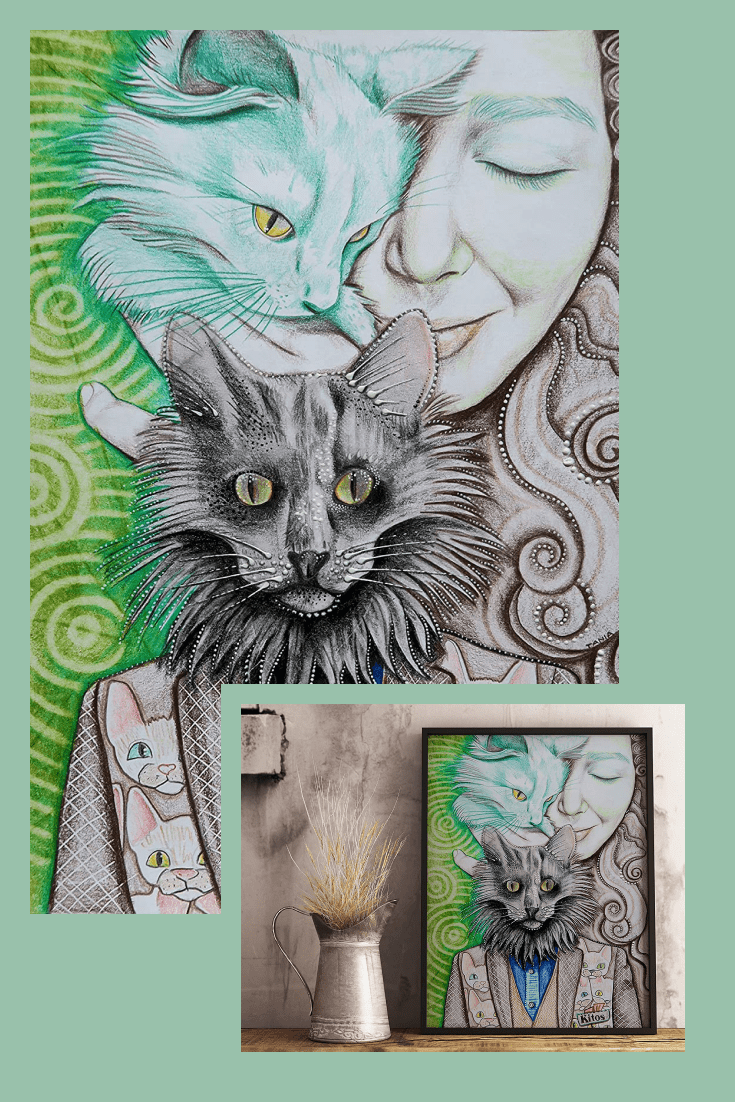 Painting in a graphic style is trendy and modern. And for cat lovers, special elements have been added to emphasize the human affection for these animals.