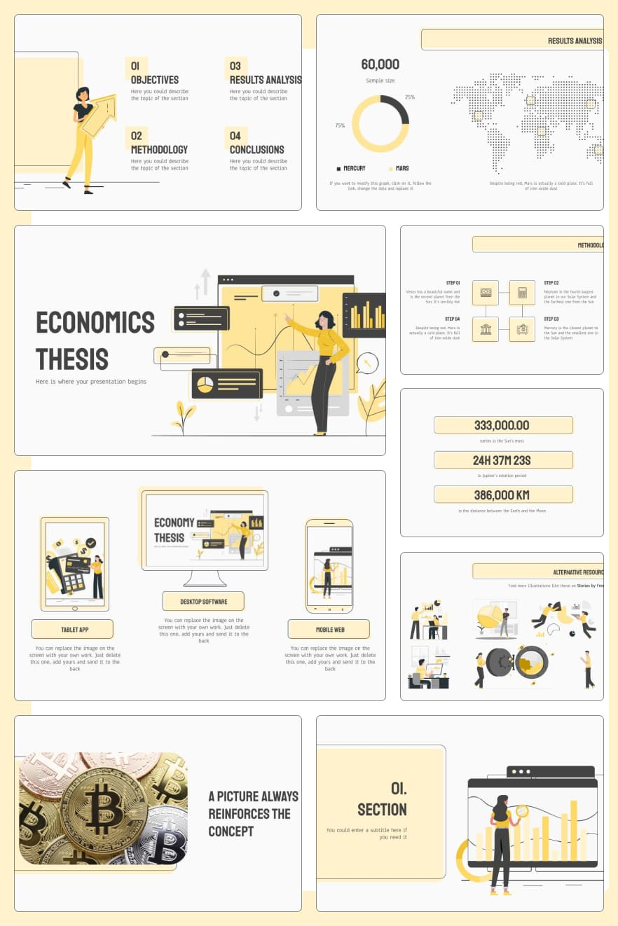 Vanilla color and blocky accents make this template versatile for different businesses. More infographics make it possible to convey information to listeners in the simplest way.