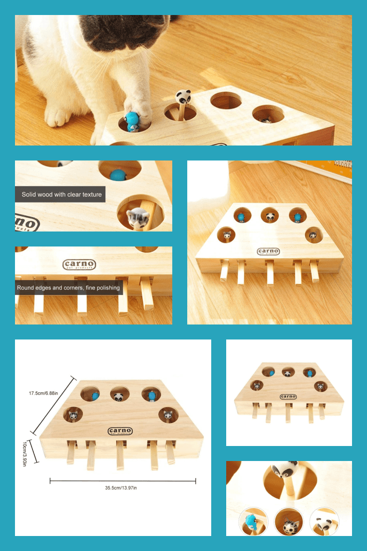 Wooden interactive toy for cats. It will be interesting for both cats and children.
