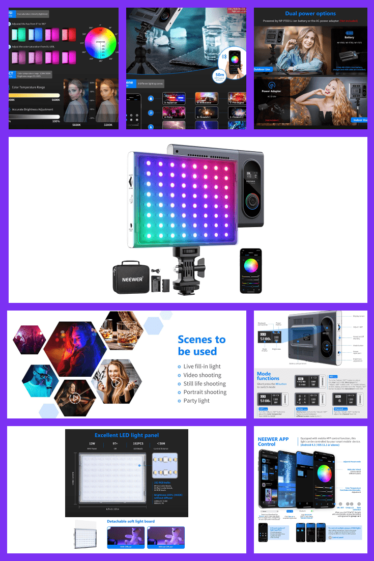 Led panel with various color switches.