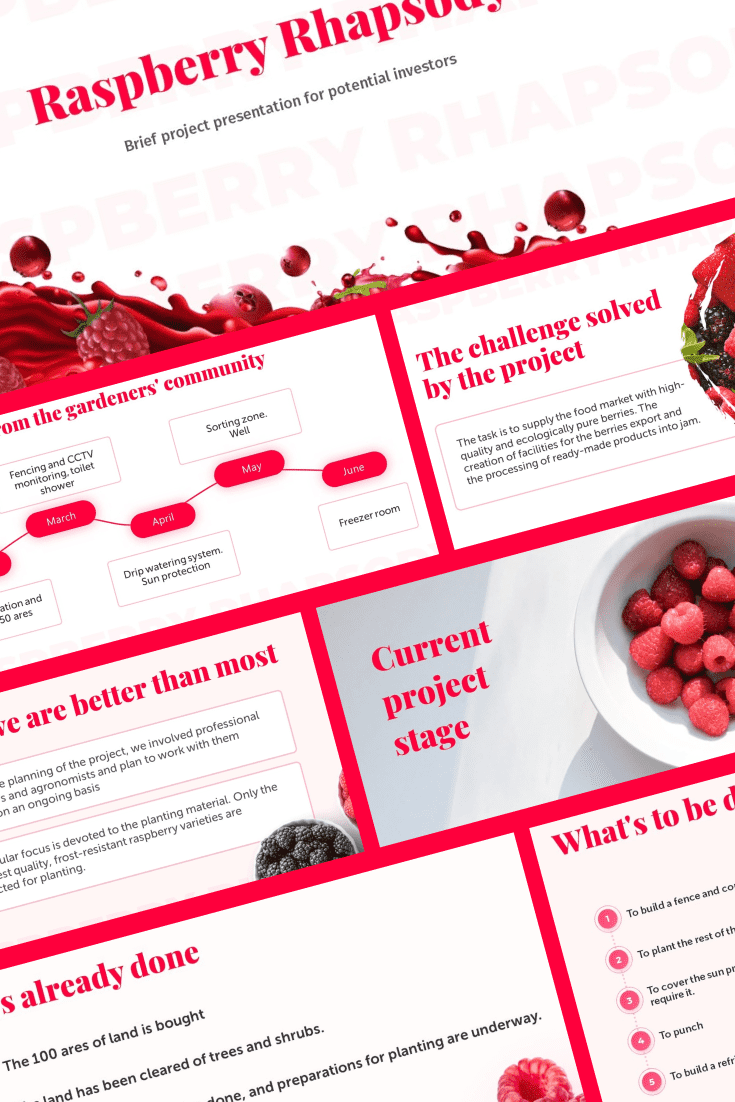 A berry theme with a predominant fuchsia color. She inspires and empowers. An original and flexible design will brighten up your presentation.