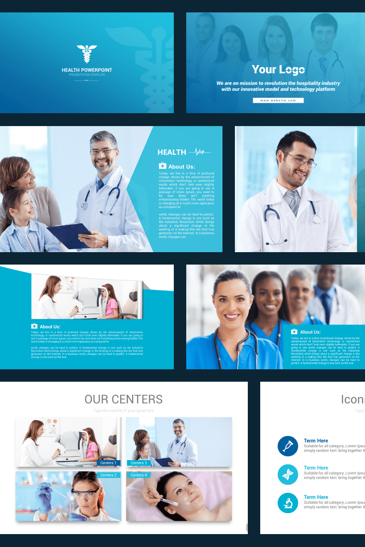 Blue combined with white is intended to inspire confidence in viewers or readers. This template is more visual - more pictures, less text - than verbal. Here you can use classic infographics and edit the style.