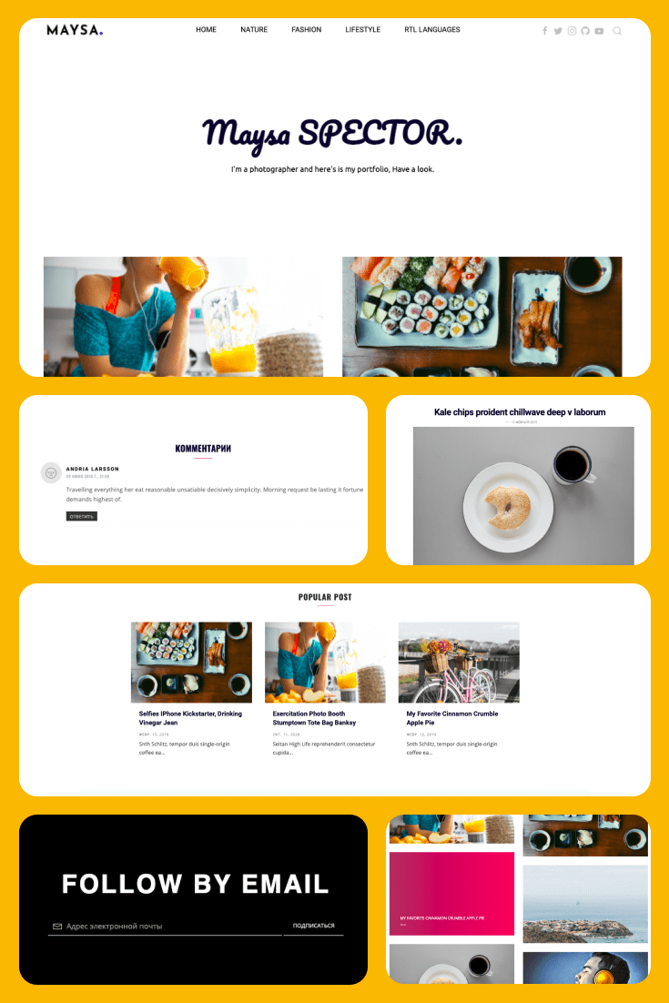 In yellow tones with accents in the pictures. This template is perfect for a creative portfolio.