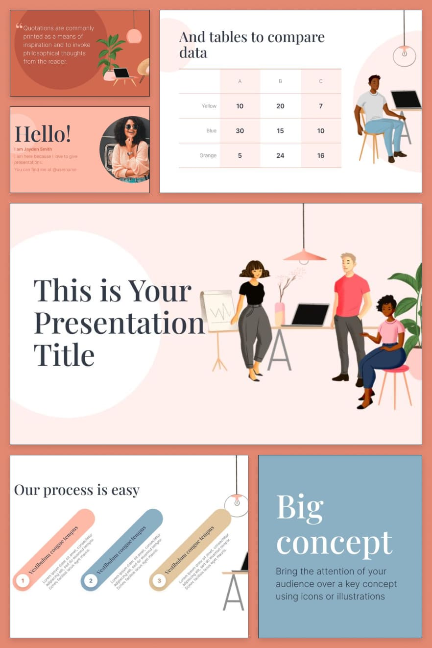 A palette of soft colors and pastels lends this template a subtle sophistication. Stylish design can be customized for yourself.