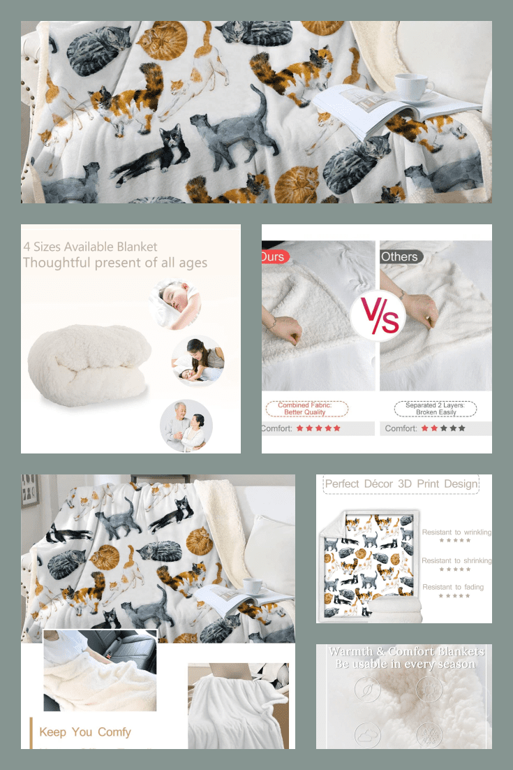 A warm fleece blanket with the image of a large number of cats will warm you on a cold night.
