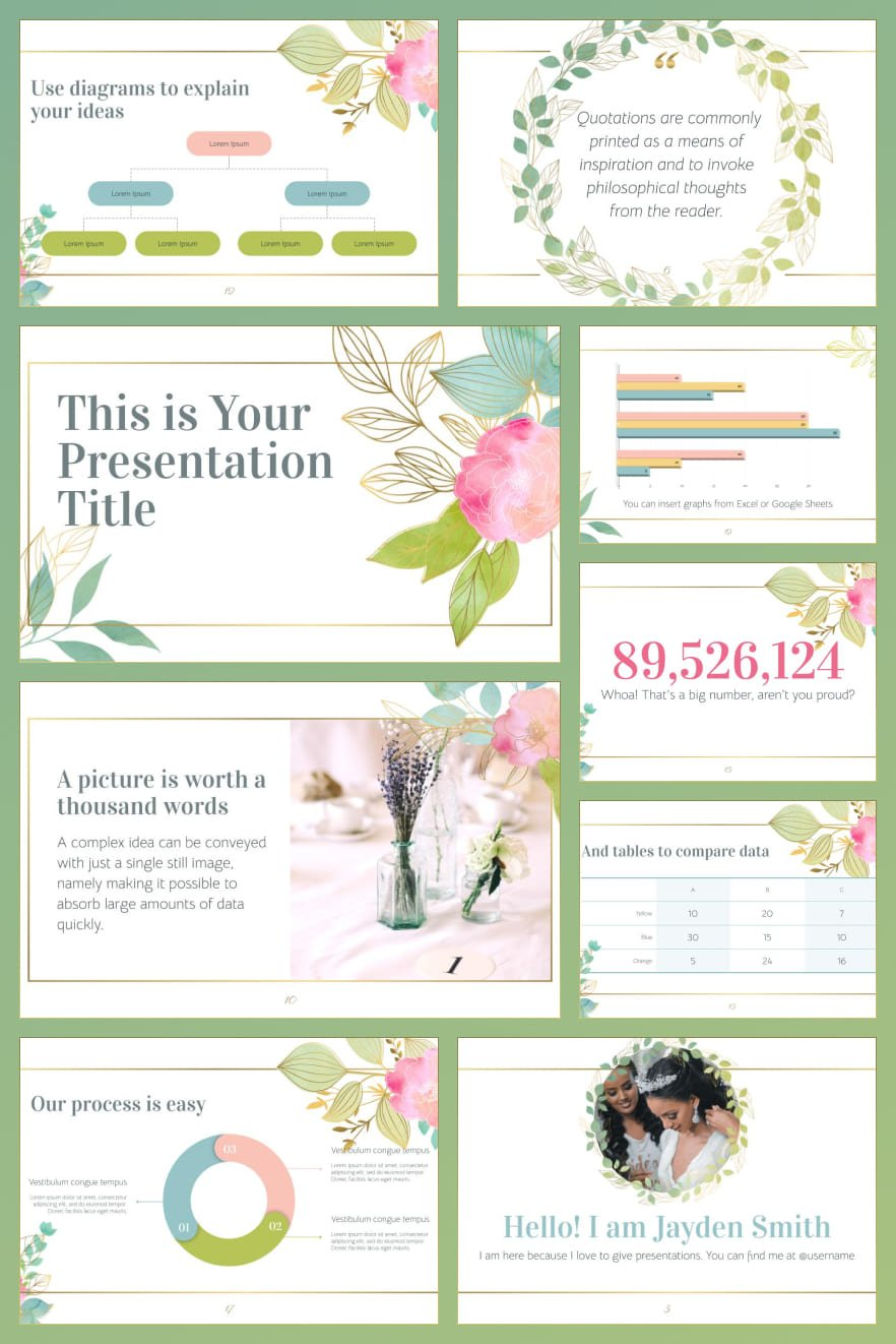 The template consists of pistachio color and spring mood. Perfect for special events: weddings, fashion week ...