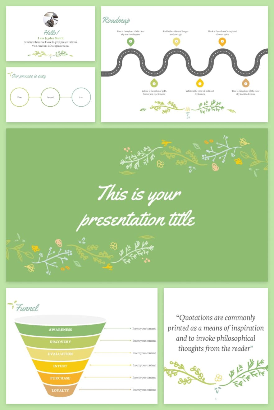 The template consists of a design in light green color. It is suitable for a concise yet modern presentation.
