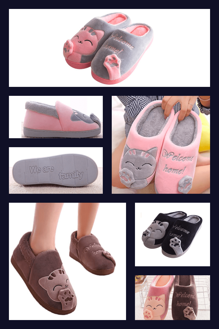 At home you also need to walk beautiful. Keep your feet warm with these cute pink and gray cat slippers.