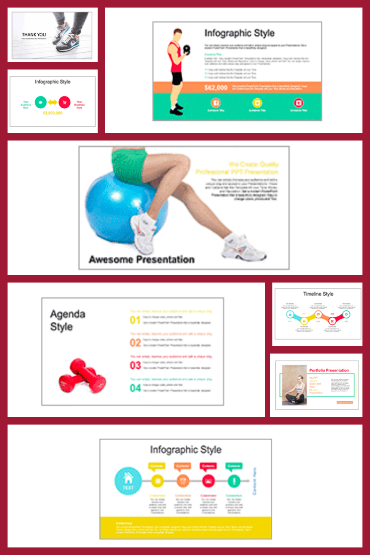 A simple and straightforward template for a sports theme. It doesn't stand out with infographics or unusual colors. He does his job - conveys what you wanted to say.