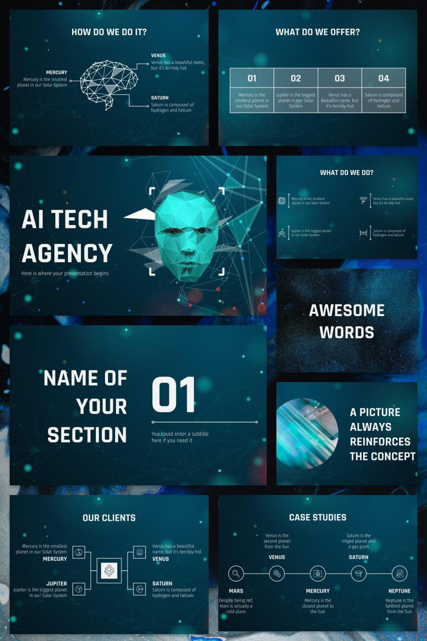 Template from the future. Futuristic notes are vividly traced. A deep blue background, thin lines and perfect shapes will make your presentation look great.