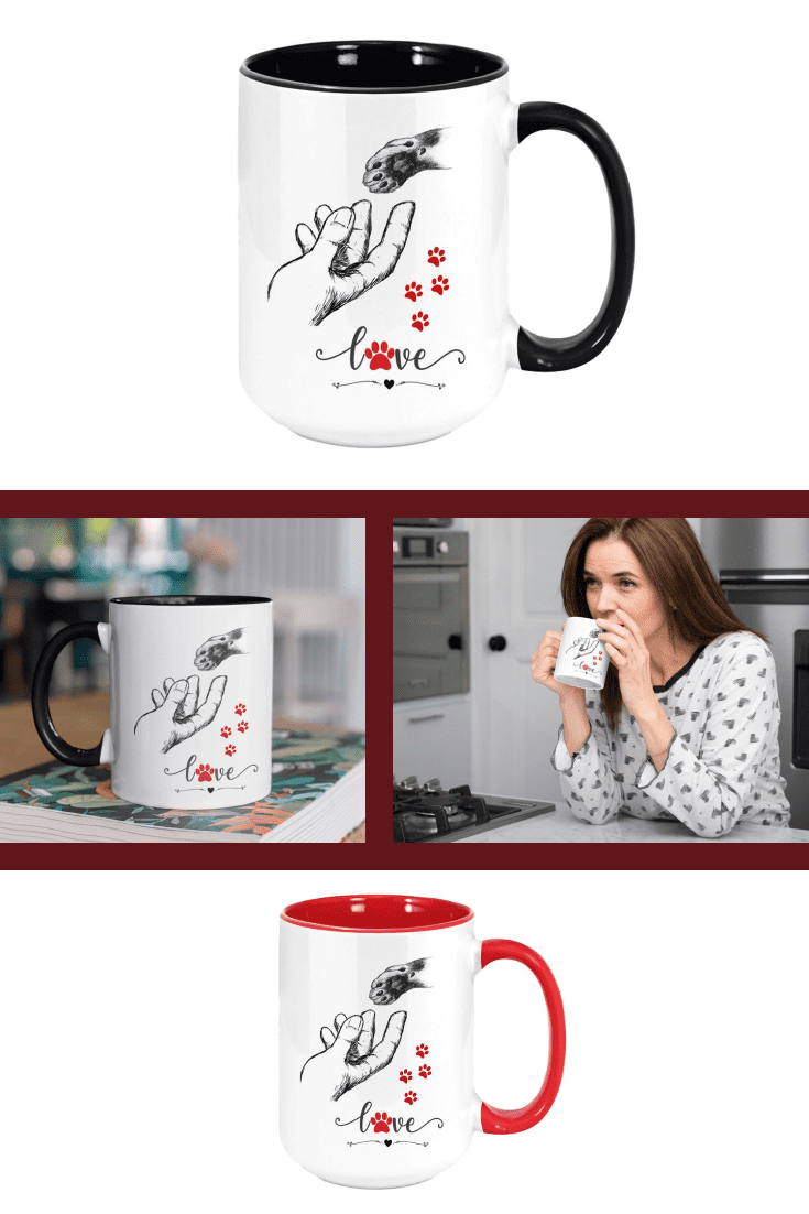 Black and white or red and white? This cup is proof of friendship and mutual love between a man and a cat.