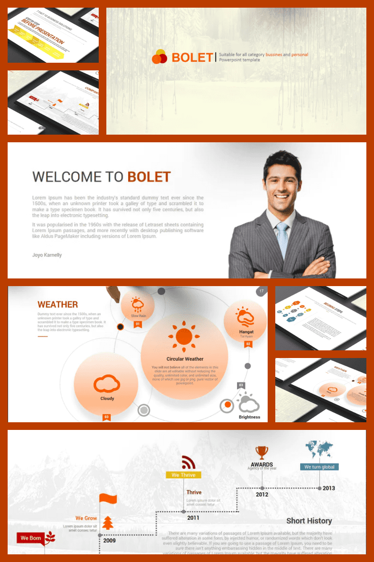 Real business template. Specific and precise. If you want a classic style presentation, then this theme is for you.